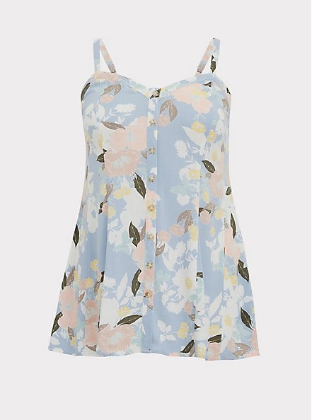 Light Blue Floral Stretch Woven Fit & Flare Cami, MULTI, hi-res