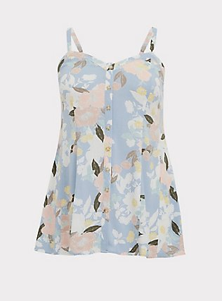 Plus Size Light Blue Floral Stretch Woven Fit & Flare Cami, MULTI, flat