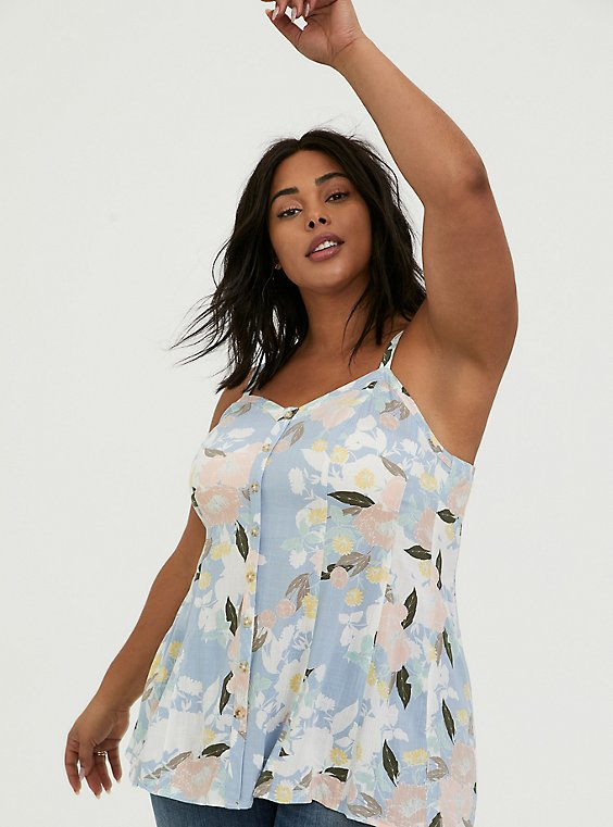 Plus Size Light Blue Floral Stretch Woven Fit & Flare Cami, , hi-res