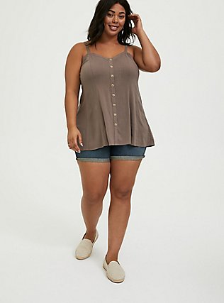 Plus Size Dark Taupe Stretch Woven Fit & Flare Cami, FALCON, alternate