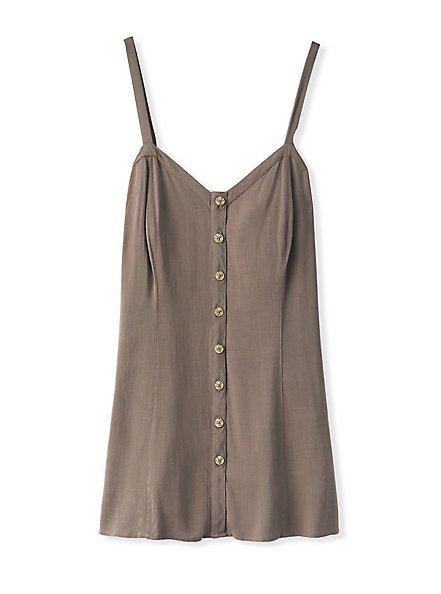 Dark Taupe Stretch Woven Fit & Flare Cami, FALCON, hi-res