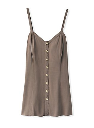 Dark Taupe Stretch Woven Fit & Flare Cami, FALCON, flat