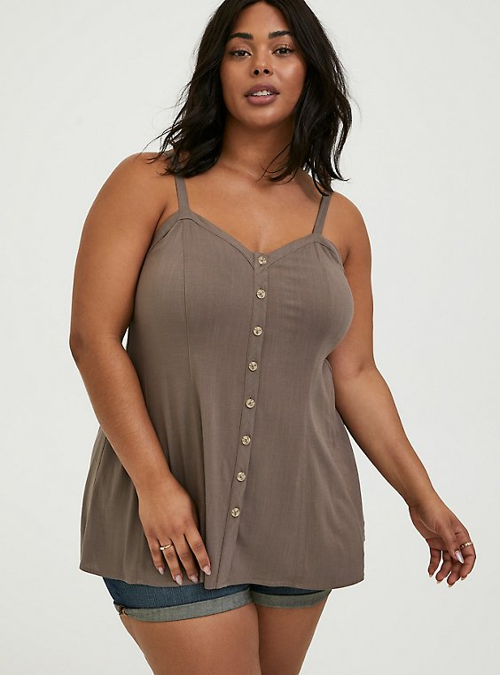 Plus Size Dark Taupe Stretch Woven Fit & Flare Cami, FALCON, hi-res