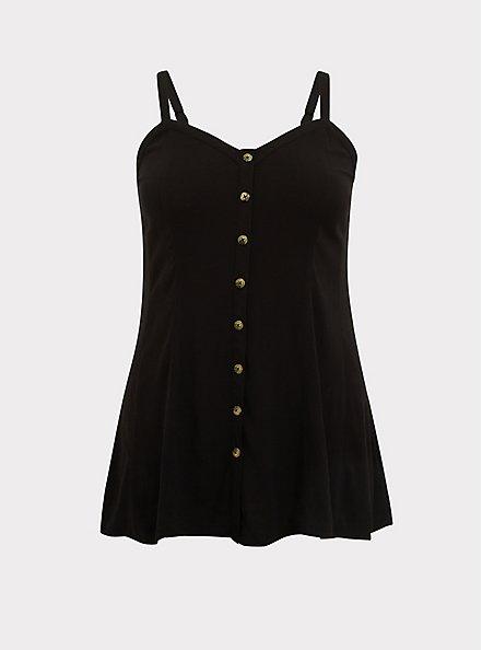 Black Stretch Woven Fit & Flare Cami, DEEP BLACK, hi-res