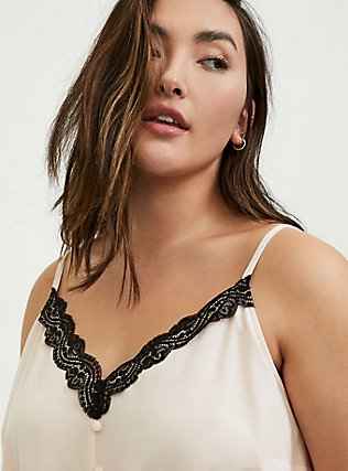 Plus Size Light Pink & Black Lace Button Cami, PEACH BLUSH, alternate