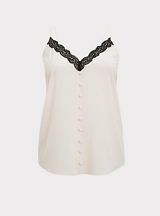 Light Pink & Black Lace Button Cami, PEACH BLUSH, flat