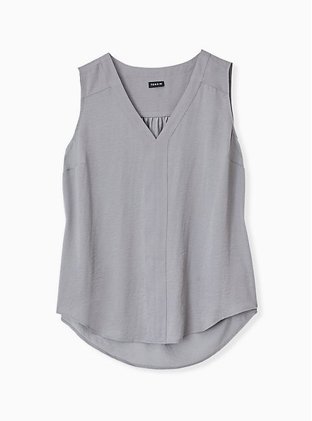 Plus Size Grey Textured Satin Pullover Tank , FROST GRAY, hi-res