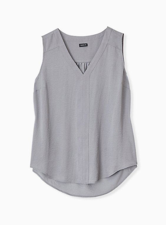 Plus Size Grey Textured Satin Pullover Tank , , hi-res