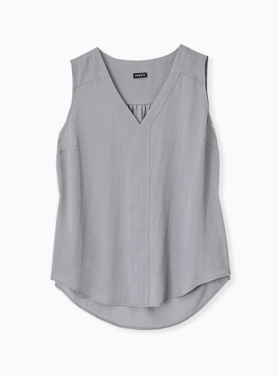 Grey Textured Satin Pullover Tank , FROST GRAY, hi-res
