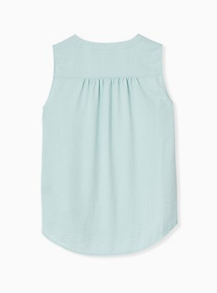 Plus Size Mint Blue Textured Satin Pullover Tank , HARBOR GRAY, alternate