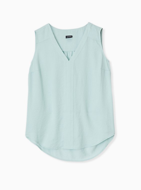 Plus Size Mint Blue Textured Satin Pullover Tank , , hi-res