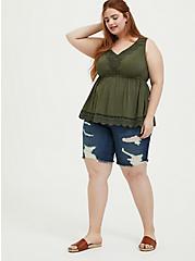 Plus Size Olive Green Challis & Crochet Button Babydoll Tank, DEEP DEPTHS, alternate