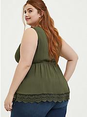 Olive Green Challis & Crochet Button Babydoll Tank, DEEP DEPTHS, alternate