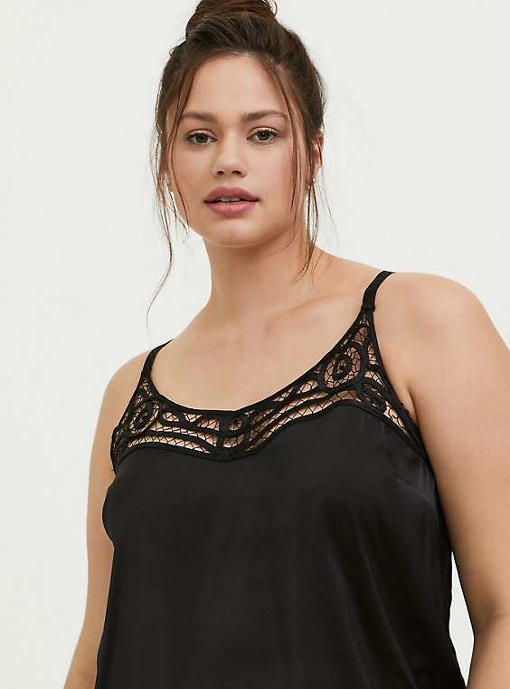 Plus Size Sophie - Black Satin Soutache Inset Swing Cami, , hi-res