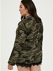 Plus Size Camo Button Front Drawstring Anorak, CAMO-GREEN, alternate