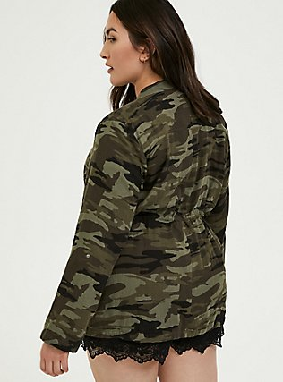 Camo Button Front Drawstring Anorak, CAMO-GREEN, alternate