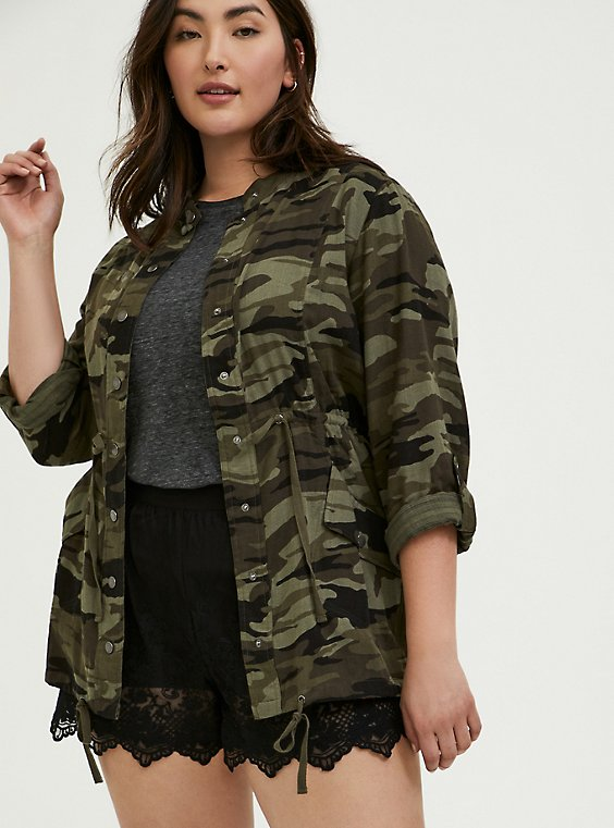 Plus Size Camo Button Front Drawstring Anorak, , hi-res