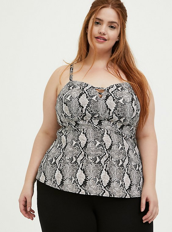 Plus Size Grey Snakeskin Print Bengaline Peplum Cami, SNAKE - WHITE, hi-res