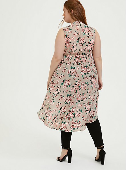 Plus Size Taupe Floral Georgette Mock Neck Hi-Lo Babydoll Tunic, FLORAL - TAUPE, alternate