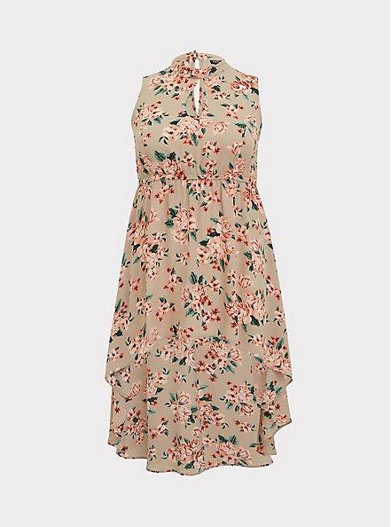 Plus Size Taupe Floral Georgette Mock Neck Hi-Lo Babydoll Tunic, FLORAL - TAUPE, hi-res