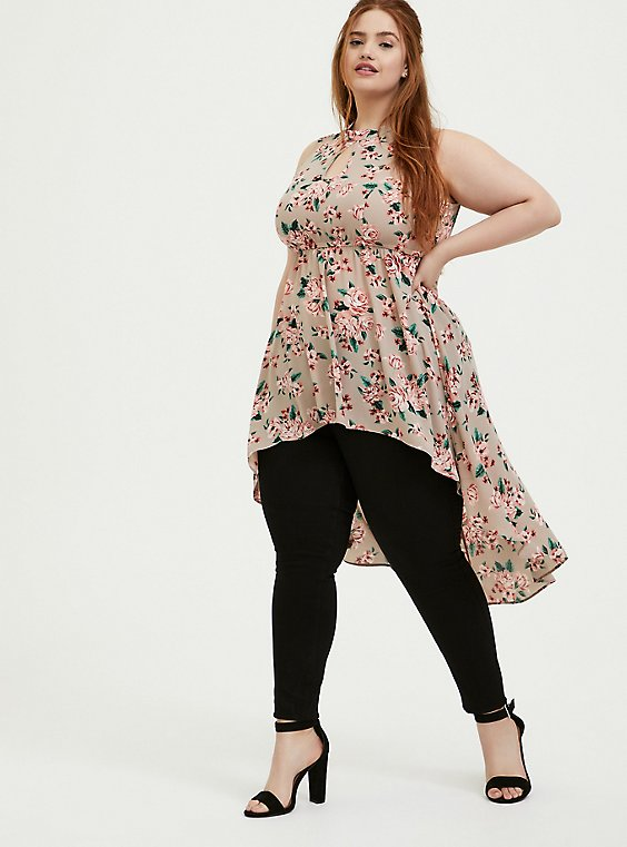 Plus Size Taupe Floral Georgette Mock Neck Hi-Lo Babydoll Tunic, , hi-res