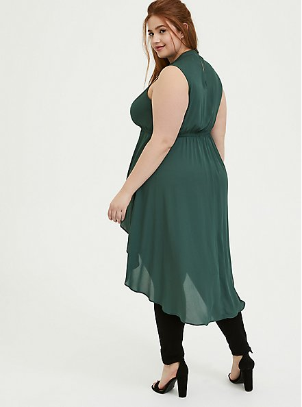 Green Georgette Mock Neck Hi-Lo Babydoll Tunic, GARDEN TOPIARY, alternate