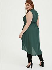 Plus Size Green Georgette Mock Neck Hi-Lo Babydoll Tunic, GARDEN TOPIARY, alternate