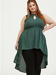 Plus Size Green Georgette Mock Neck Hi-Lo Babydoll Tunic, GARDEN TOPIARY, hi-res
