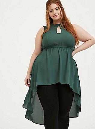 Green Georgette Mock Neck Hi-Lo Babydoll Tunic, GARDEN TOPIARY, hi-res