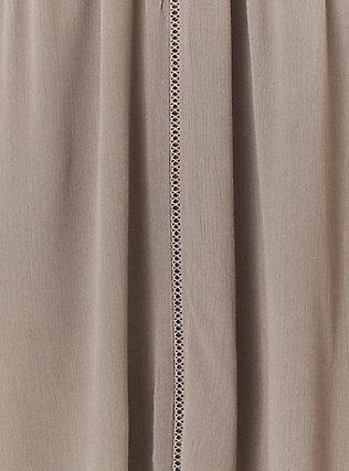 Plus Size Dark Taupe Crinkled Gauze Crochet Inset Goddess Tank, FALCON, alternate