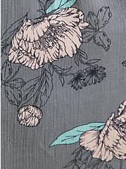 Grey Floral Gauze Shirred Babydoll Cami, FLORAL - GREY, alternate