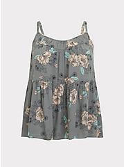 Grey Floral Gauze Shirred Babydoll Cami, FLORAL - GREY, hi-res