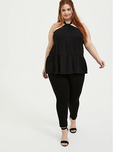 Black Textured Shirred Hem Halter Tunic Top, DEEP BLACK, alternate