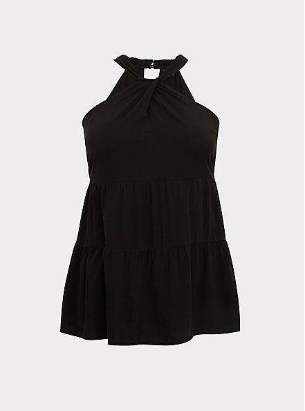 Black Textured Shirred Hem Halter Tunic Top, DEEP BLACK, hi-res