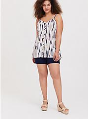 Plus Size Navy & Multi Brushstrokes Stretch Woven Fit & Flare Cami, STRIPE - WHITE, alternate
