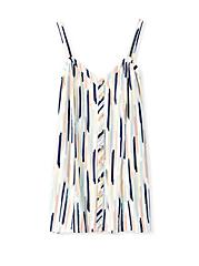 Plus Size Navy & Multi Brushstrokes Stretch Woven Fit & Flare Cami, STRIPE - WHITE, hi-res