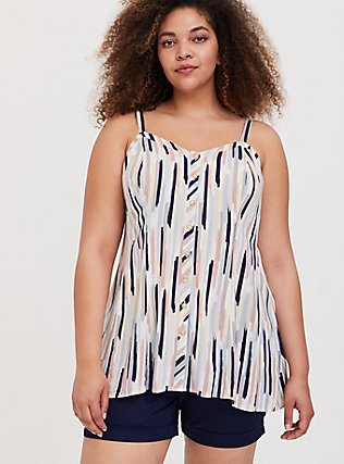 Navy & Multi Brushstrokes Stretch Woven Fit & Flare Cami, STRIPE - WHITE, hi-res