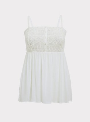 White Gauze & Crochet Babydoll Cami, CLOUD DANCER, flat