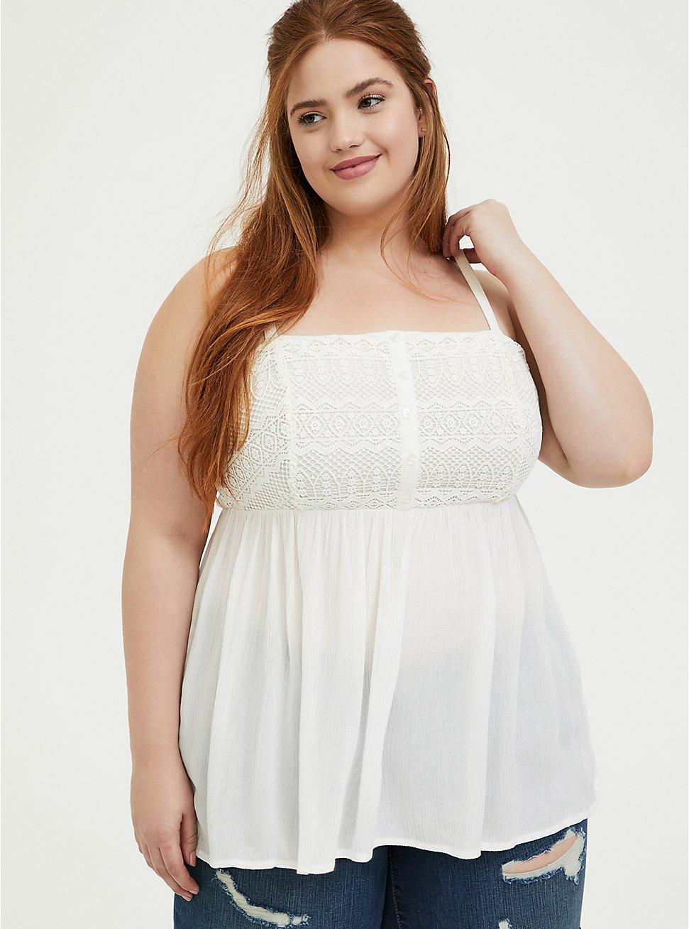 Plus Size White Gauze & Crochet Babydoll Cami, CLOUD DANCER, hi-res