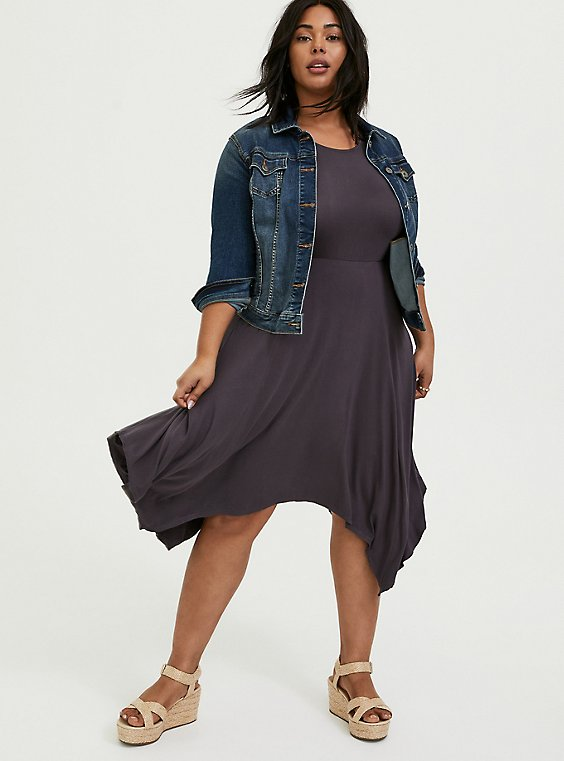 Plus Size Super Soft Dark Slate Grey Handkerchief Dress, , hi-res