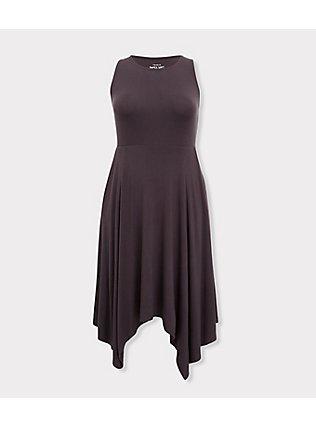 Super Soft Dark Slate Grey Handkerchief Dress, NINE IRON, ls