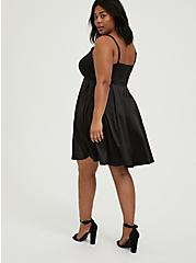 Black Satin & Lace Mini Skater Dress, DEEP BLACK, alternate