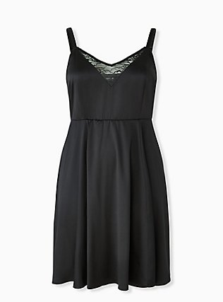 Black Satin & Lace Mini Skater Dress, DEEP BLACK, flat