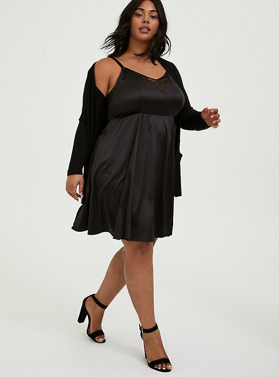 Plus Size Black Satin & Lace Mini Skater Dress, , hi-res