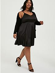Black Satin & Lace Mini Skater Dress, DEEP BLACK, hi-res