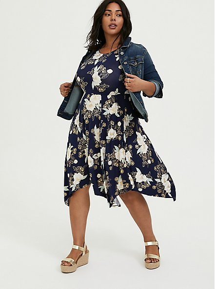 Super Soft Navy Floral Handkerchief Dress, FLORALS-NAVY, hi-res