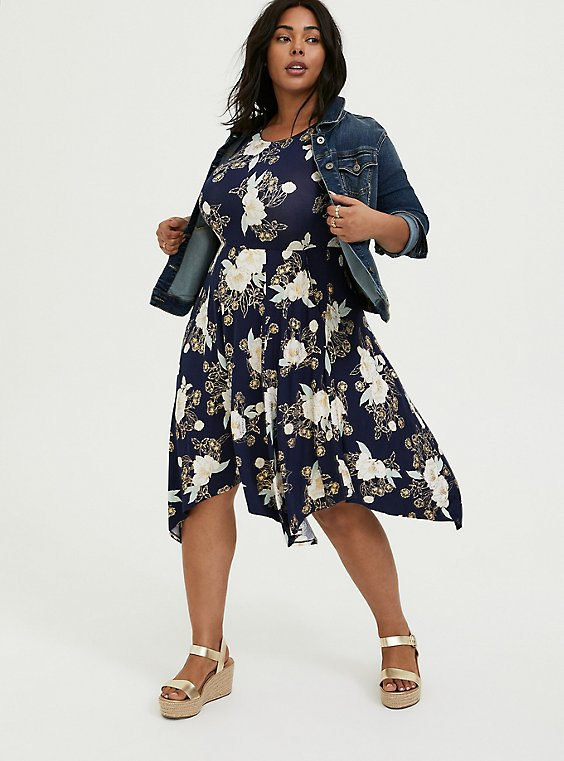 Plus Size Super Soft Navy Floral Handkerchief Dress, , hi-res
