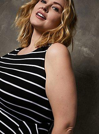 Super Soft Black & White Stripe Handkerchief Dress, STRIPE-BLACK WHITE, alternate