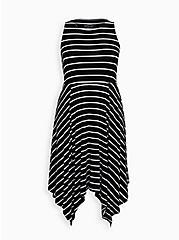 Super Soft Black & White Stripe Handkerchief Dress, STRIPE-BLACK WHITE, hi-res