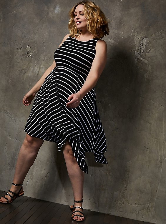 Super Soft Black & White Stripe Handkerchief Dress, STRIPE-BLACK WHITE, hi-res